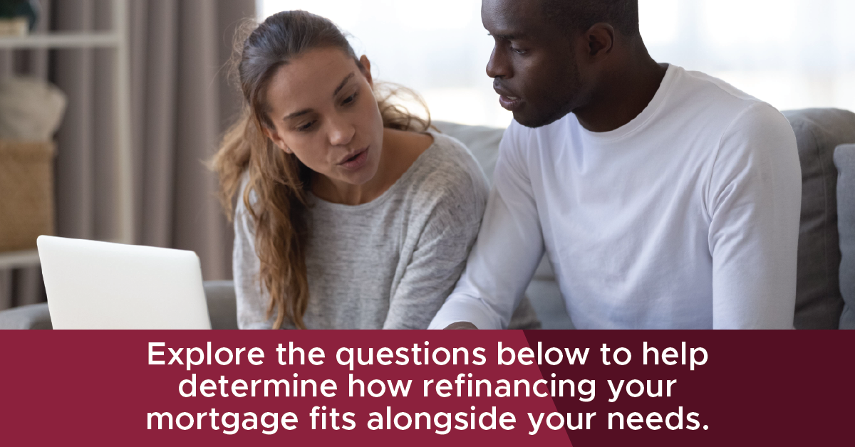 Explore the questions below to help determine how refinancing your mortgage fits alongside your needs.